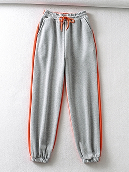 Casual Contrast Color Drawstring Sweatpants Women