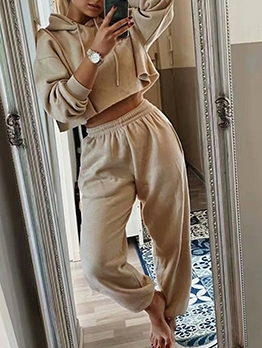 Casual Pure Color Hooded Two Piece Sets