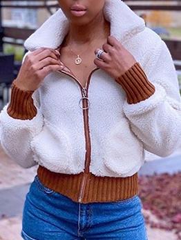 Stand Collar Zipper Up Lambswool Winter Coats