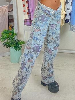 DoodlePrint street stylish high waist denim jeans