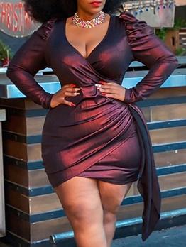V Neck Long Sleeve Draped Plus Size Dresses