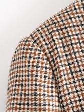 Classic Double Breasted Khaki Plaid Blazer