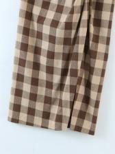 Easy Matching High Waist Twist Plaid Skirt