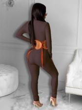 Skinny Zipper Up Crop Top And Pant Set