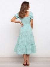 Plaid Puff Short Sleeve Square Neck Ladies Dress