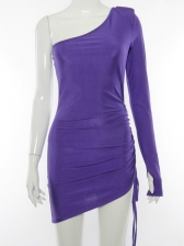 Inclined Shoulder Ruched Solid Bodycon Dress