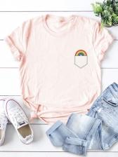 Cute Rainbow Pocket Printing Plus Size T-Shirt