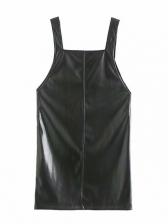 Pu Fabric Sexy Black Sleeveless Dress