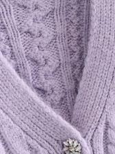 Autumn College Purple Cardigan Coat For Women