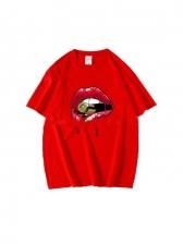 New Mouth Print Design T Shirt
