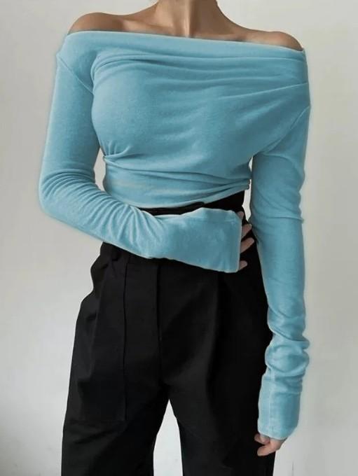 Chic Off Shoulder Long Sleeve T Shirt