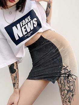 Latest Style High Waist Contrast Color Slim Skirt