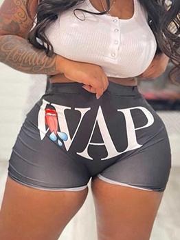 Letter Printed Women Hot Pants