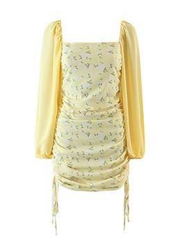 Fashion Print Ruched Long Sleeve Dress