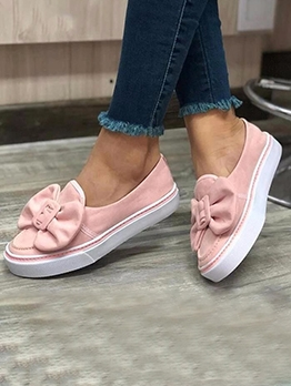 Bow Decor Flat Women Slip On Shoes