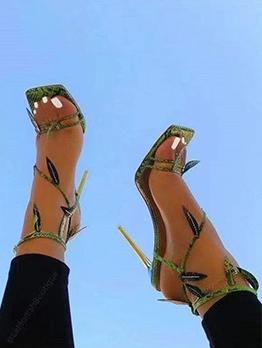 Euro Square Toe High Heel Snakeskin Printed Sandals