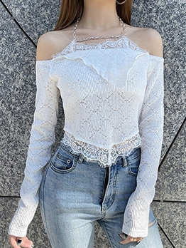 Fashion Solid Chain Off Shoulder Tee