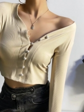 Single-Breasted Pure Color Solid Women T-Shirt
