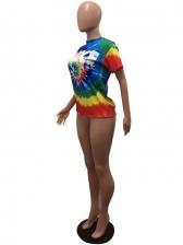 Colorful Tie Dye Short Sleeve Ladies T Shirts