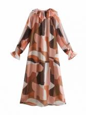 Color Block Ruffled Flare Long Sleeve Maxi Dress