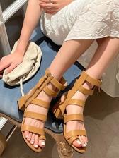 Roman Style Chunky Heel Summer Sandals