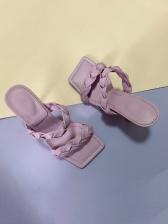 Versatile Square Toe Woven Design Slippers