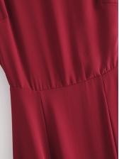 Pure Color High Slit Short Sleeve Maxi Dress