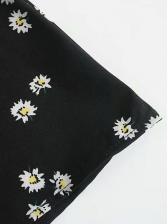 Daisy Printed Puff Short Sleeve Ladies Dress