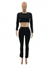 Solid Sexy Long Sleeve Two Pieces Pants Set