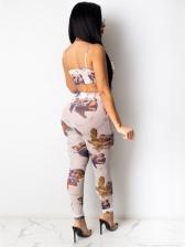 Fashion Printing Chic Tank Top And Pant Set