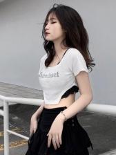 Fashion Square Neck Slim Cropped T-Shirt