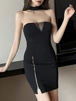 Sexy Nightclub Backless Black Strapless Dress