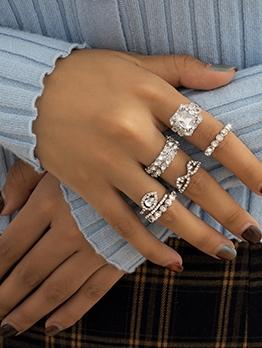 Alloy Material Full Rhinestone Ring Sets Women