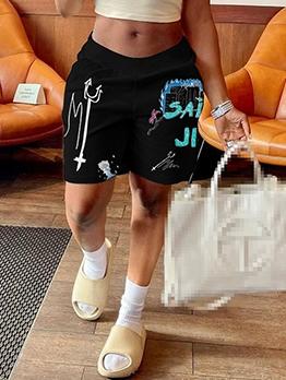 Casual Loose Print Short Pants Women