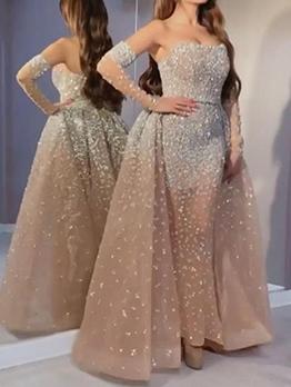 Seductive Sequined Off Shoulder Evening Wear Dresses