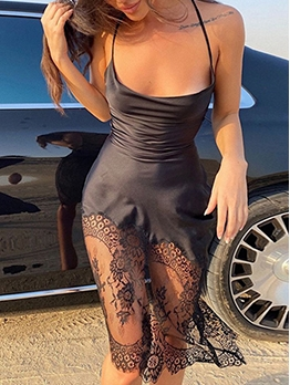 Sexy Lace Patchwork Backless Camisole Dress