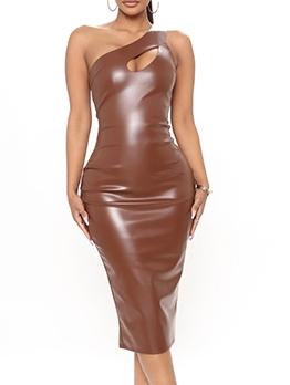 Inclined Shoulder Knee Length Sleeveless Bodycon Dress