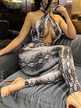 Sexy Snake Print Backless Halter Jumpsuit