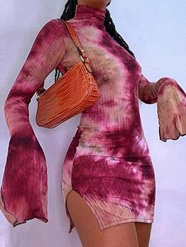 Tie Dye Flare Sleeve High Split Bodycon Dress