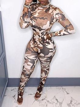 Mock Neck Camouflaged Print Skinny Jumpsuit