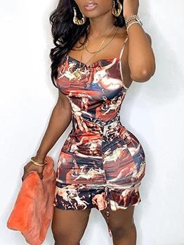 Drawstring U Neck Printed Sleeveless Mini Dress