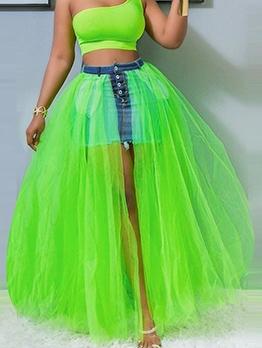 Sexy Gauze Patchwork Midi Skirt