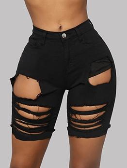 Chic High Waist Holes Black Denim Shorts
