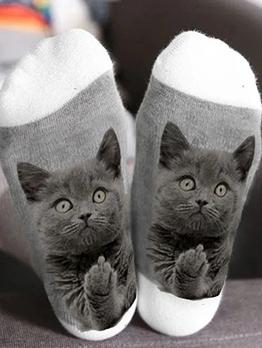 Spring Latest Animal Cat Printing Cute Socks