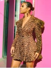 Puff Sleeve Leopard Print A-Line Blazer Dress Fashion