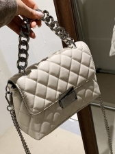 Korean Style Solid Rhombic Bag With Chain