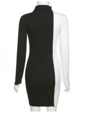 Slim Fashion Contrast Color Long Sleeve Dress