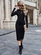 Simple Shoulder Cut Long Sleeve Midi Dress