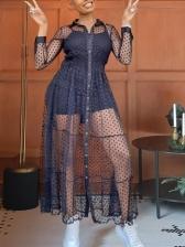 See Through Polka Dots Long Sleeve Maxi Dress