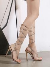 Square Neck Rhinestone High Heel Ladies Sandal